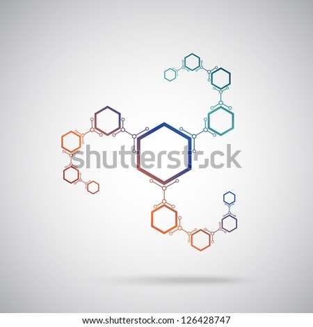 connected colored cells. Vector Graphics. - stock vector