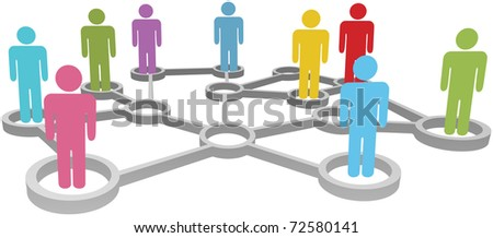 Connected People collaborate in Social or Business Network Nodes - stock vector