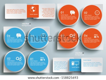 Connected rectangles on the grey background. Eps 10 vector file. - stock vector