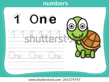 Connecting dot and printable numbers exercise with lovely cartoon for preschool and kindergarten kids illustration, vector  - stock vector