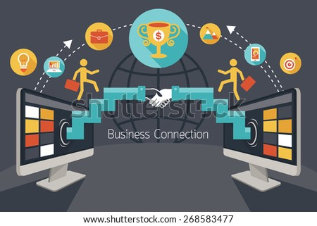 Connection Concept, Shake Hands, Business Icons, Flat Design of Business Marketing, Success and Achievement - stock vector
