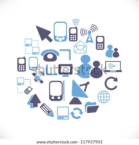 connection icons set, vector - stock vector