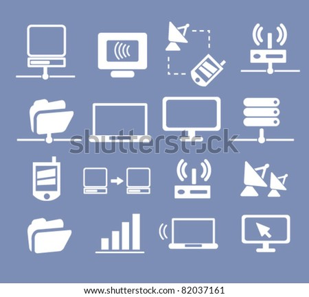 connection icons, signs, illustration, images, vector - stock vector