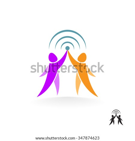 Connection of two people. Abstract vector logo motivated people. - stock vector