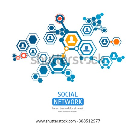 connection people hexagon background. Vector illustration - stock vector
