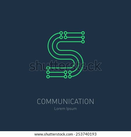 Connection System - vector logo design template, letter S. Data transfer concept idea. Electronic communication technology. - stock vector