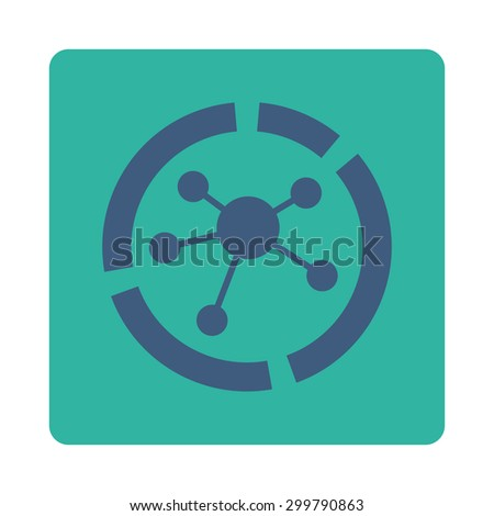 Connections diagram icon. Vector style is cobalt and cyan colors, flat rounded square button on a white background. - stock vector