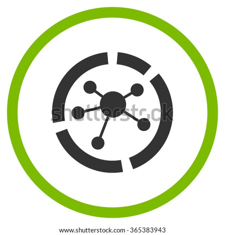 Connections Diagram vector icon. Style is bicolor flat circled symbol, eco green and gray colors, rounded angles, white background. - stock vector