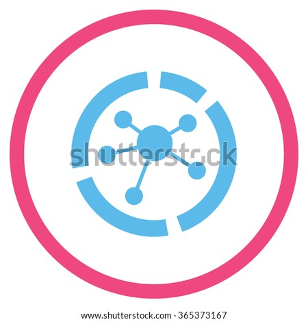 Connections Diagram vector icon. Style is bicolor flat circled symbol, pink and blue colors, rounded angles, white background. - stock vector