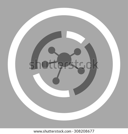 Connections diagram vector icon. This rounded flat symbol is drawn with dark gray and white colors on a silver background. - stock vector