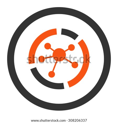 Connections diagram vector icon. This rounded flat symbol is drawn with orange and gray colors on a white background. - stock vector