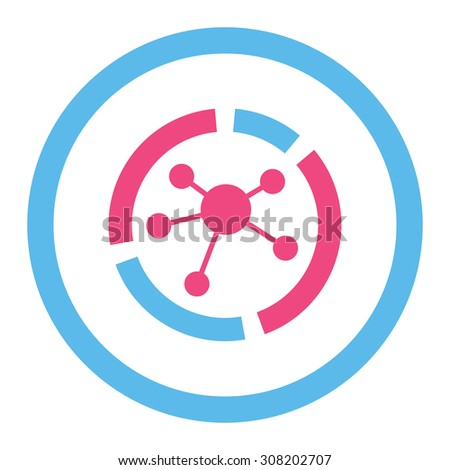 Connections diagram vector icon. This rounded flat symbol is drawn with pink and blue colors on a white background. - stock vector