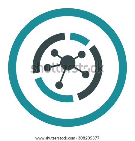 Connections diagram vector icon. This rounded flat symbol is drawn with soft blue colors on a white background. - stock vector