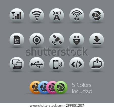 Connectivity Icons // Pearly Series ----- The Vector file includes 5 color versions for each icon in different layers ----- - stock vector