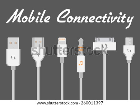 Connectors and sockets for PC and mobile devices - stock vector