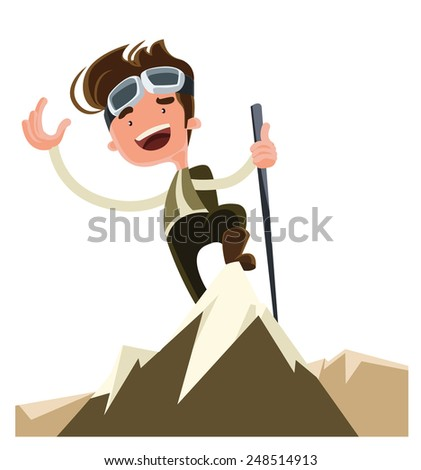 Conquer the mountain peak top vector illustration cartoon character - stock vector