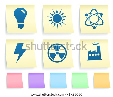 Conservation Icons on Post It Note Paper Collection Original Illustration - stock vector