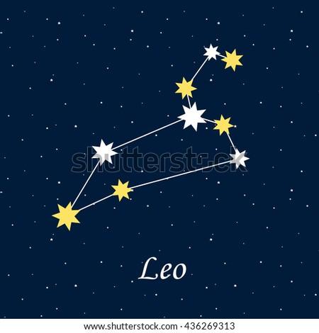 constellation Leo zodiac horoscope astrology stars night illustration vector. - stock vector