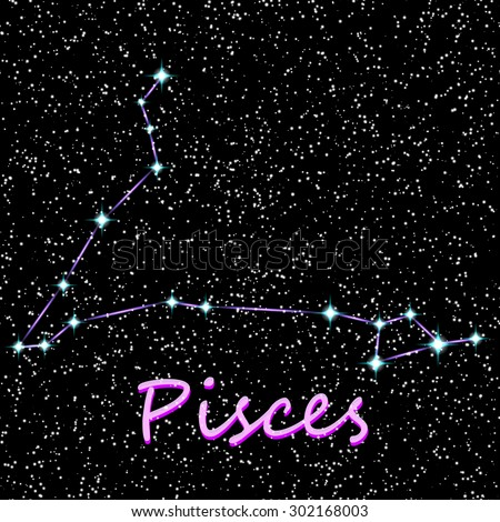 Constellation Pisces vector illustration  - stock vector