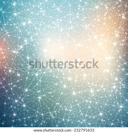 constellation with stars on blurred background evening sunset with glowing lights - stock vector