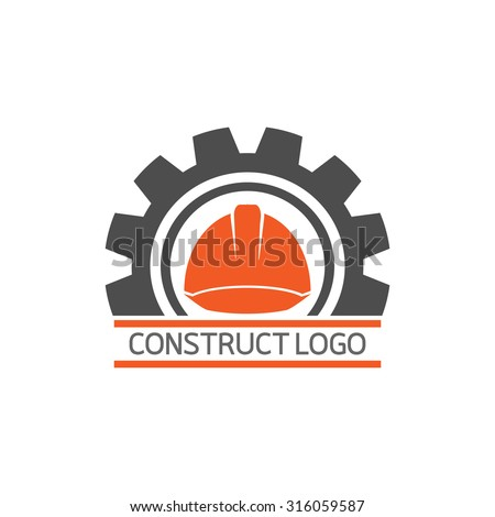 Construct building logo on white background : icon vector: Industrial working industry concept. - stock vector