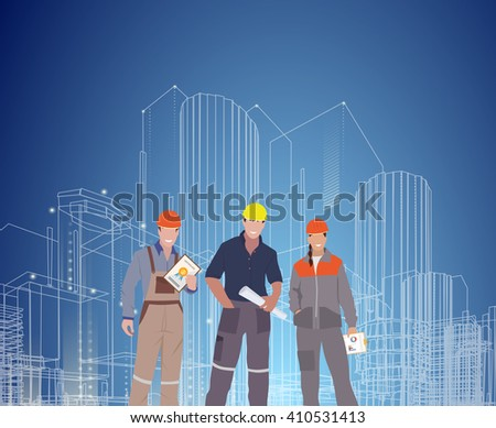 Construction and building professions flat set with engineering professional electrician works finished object isolated vector illustration. - stock vector