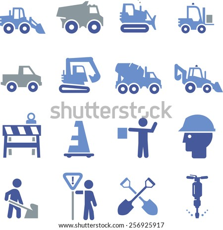 Construction and heavy equipment icons.  - stock vector