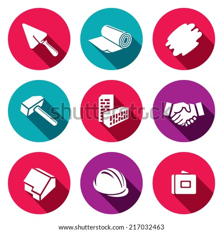 Construction and home repair flat icons set - stock vector