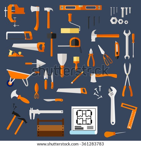 Construction and repair tools flat icons with hammer, axe, saw, wrench, screwdriver, scissors, trowel, spatula, paintbrush, roller, knife, fastener, pliers, toolbox, blueprint, wheelbarrow and ruler - stock vector