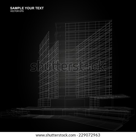 Construction architecture industry. 3d render wirframe - stock vector