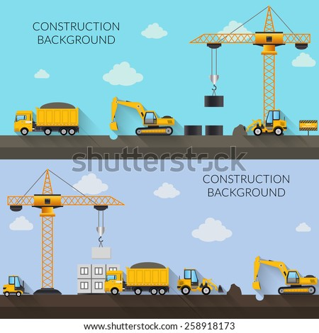 Construction background with cranes tractor trucks and industrial machinery vector illustration - stock vector