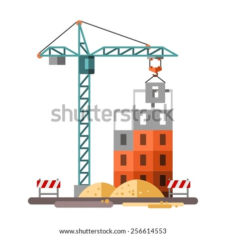 Construction, building a house - vector flat illustration. - stock vector