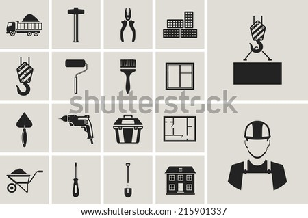 construction, building, tools and repair vector flat icons set. - stock vector