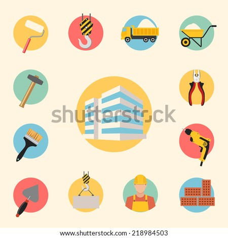construction, building, tools and repair vector icons set. infographics template elements - stock vector