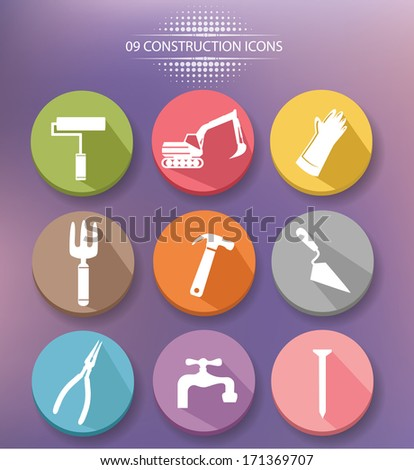 Construction buttons,colorful version,vector - stock vector