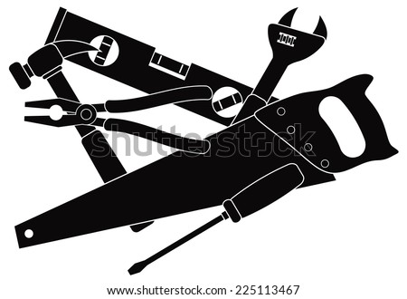 Construction Carpentry Tools Hammer Level Wrench Pliers Wood Saw Screw Driver in Black Isolated on White Background Vector Illustration - stock vector