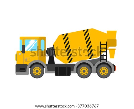 Construction cement mixer truck. Building concrete mixer car. Delivery concrete to construction. Concrete mixer truck vector illustration.  - stock vector