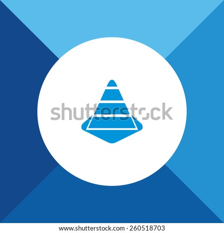 Construction Cone Icon On Blue Background. Eps-10. - stock vector