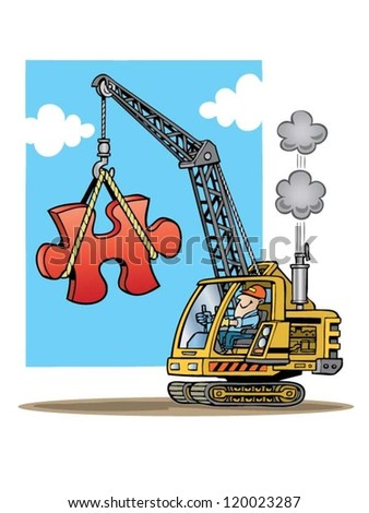 Construction crane lifting a large red puzzle piece - stock vector