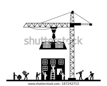 Construction design over white background, vector illustration - stock vector