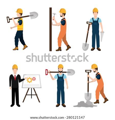 Construction design over white background ,vector illustration. - stock vector