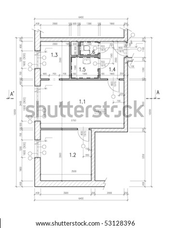 Construction drawing of a small flat. Black and white vector. Black and white vector illustration. - stock vector