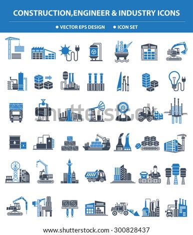 Construction,Engineer and Industry icon set,blue version,clean vector - stock vector