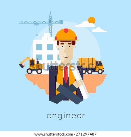 Construction. Engineer, builder, architect, foreman at a construction site. Truck and excavator on a construction site. Building a house. Flat icons vector illustration. - stock vector
