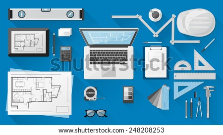 Construction engineer desktop with work tools, tablet and laptop - stock vector