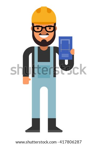 Construction engineer with a plan in hands. Flat vector illustration isolated on white background - stock vector