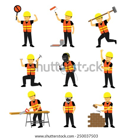Construction Engineer Worker Builder Set Two - stock vector
