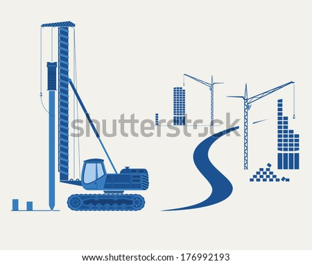 Construction equipment. Silhouettes of  pile driver, cranes and buildings. EPS 10 opacity. - stock vector