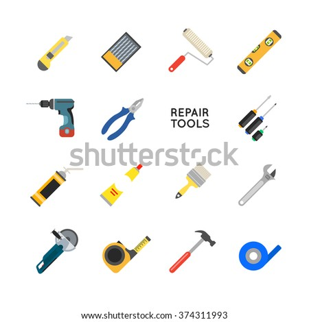 Construction equipment vector set. Working tools for repair and construction. Hand drill, saw, level, hammer, screwdriver and other construction tools. Home repair set isolated on white background. - stock vector