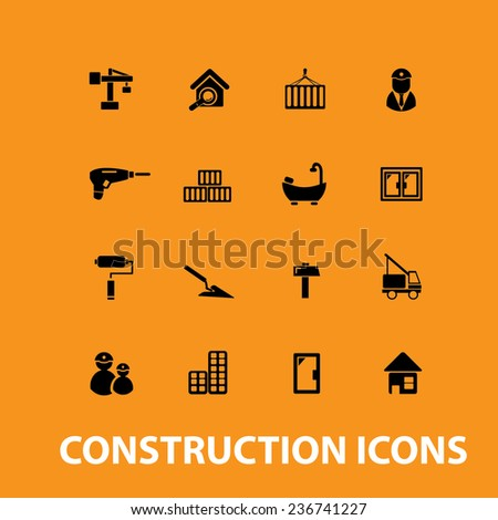 construction, house renovation icons, signs set, vector - stock vector